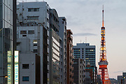 Tokyo Tower from Tamachi, Tokyo, Japan. Friday February 24th 2017