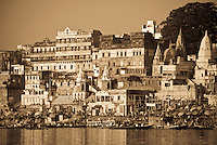 A morning scene at Ahilyabai Ghat on  ning scene at Ahilyabai Ghat on the River Ganges in Varanasi, Uttar Pradesh, India