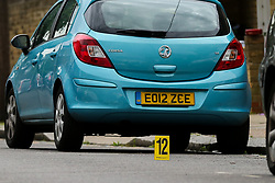 © Licensed to London News Pictures. 28/05/2019. London, UK. A forensic marker on Dyson Road, Forest Gate, East London where a man in his 30s died in the early hours of this morning following a flight on Warwick Road.<br /> Police officers were called after the victim was found suffering from stab injuries and he died later in the hospital. Photo credit: Dinendra Haria/LNP CAPTION UPDATED WITH CORRECT DATE
