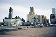 CSO1520-18.  Minneapolis, Minnesota, 1964. Minneapolis City Hall and Clock Tower on the left.