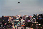 Police helicopter above Old San Juan, Puerto Rico, Caribbean