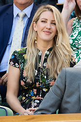 © Licensed to London News Pictures. 02/07/2018. London, UK. Ellie Goulding and Michael Evans watches centre court tennis from the Royal Box at the Wimbledon Tennis Championships 2018. Photo credit: Ray Tang/LNP