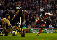 Photo: Jed Wee.<br />Middlesbrough v Charlton Athletic. The Barclays Premiership. 23/12/2006.<br /><br />Middlesbrough's Yakubu (R) scores the opening goal.