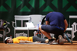 May 22, 2019 - Paris, France - Gianluca Mager during a match between Santiago Giraldo of COL vs Gianluca Mager of ITA in the second round qualifications of Roland Garros, in Paris, France, on May 22, 2019. (Credit Image: © Ibrahim Ezzat/NurPhoto via ZUMA Press)