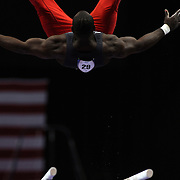 Donnell Whittenburg, Colorado Springs, Colorado, in action on the Horizontal bar during the Senior Men Competition at The 2013 P&G Gymnastics Championships, USA Gymnastics' National Championships at the XL, Centre, Hartford, Connecticut, USA. 16th August 2013. Photo Tim Clayton