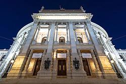THEMENBILD - Burgtheater waehrend der Blauen Stunde. Es liegt am Universitaetsring, frueher Dr.-Karl-Lueger-Ring, und eroeffnete erstmals am 14. Oktober 1888. Es gilt als das oesterreichische Nationaltheater. Das Bild wurde am 15. April 2013 aufgenommen. im Bild Eingangsbereich Burgtheater // THEME IMAGE FEATURE - Burgtheater in Vienna at Twilight Hour, which is at the viennese ring road and opened on 14th, October 1888. The image was taken on april, 15th, 2013. Picture shows entrance area of Burgtheater, AUT, EXPA Pictures © 2013, PhotoCredit: EXPA/ Michael Gruber
