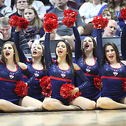 UNCASVILLE, CONNECTICUT- DECEMBER 4: UConn Huskies cheerleaders in action during the UConn Huskies Vs Texas Longhorns, NCAA Women's Basketball game in the Jimmy V Classic on December 4th, 2016 at the Mohegan Sun Arena, Uncasville, Connecticut. (Photo by Tim Clayton/Corbis via Getty Images)