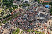 Nederland, Noord-Holland, Purmerend, 14-06-2012; binnenstad met rond de Kaasmarkt de Koepelkerk, het voormalige stadhuis (met trapgevels) en rechts daarvan Museum Waterland. Iets links van de Kaasmarkt, het gebouw met toneeltoren, theater de Purmaryn (voormalige RK Kerk). Links de rivier De Where..City centre with former town hall, church and theatre..luchtfoto (toeslag), aerial photo (additional fee required);.copyright foto/photo Siebe Swart