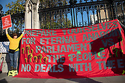 On the day the Prime Minister brings his Brexit bill for a vote at the House of Commons, Pro Brexit anti European Union Leave protesters demonstrating in Westminster hang a banner which reads 'Prepare yourselves for eternal anarchy - Parliament vs. the people - No deals wit the EU' on 22nd October 2019 in London, England, United Kingdom. Brexit is the scheduled withdrawal of the United Kingdom from the European Union. Following a June 2016 referendum, in which 51.9% of participating voters voted to leave.