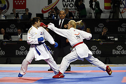 November 10, 2018 - Madrid, Madrid, Spain - Japanese karateka Ayumi Uekusa seen fighting with Greek karateka Eleni Chatziliadou to compete for the Gold Medal during the Kumite female +68kg final competition of the 24th Karate World Championships at the WiZink centre in Madrid. (Credit Image: © Manu Reino/SOPA Images via ZUMA Wire)