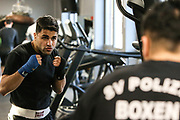 Boxen: 1. Bundesliga, Hamburg Giants, Hamburg, 13.02.2017<br /> Pressetraining zur Kooperation mit dem Hamburger Profi-Boxstall EC Boxing:<br /> Ammar Abbas Abduljabar (Giants)<br /> © Torsten Helmke