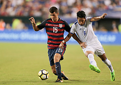 July 19, 2017 - Philadelphia, PA, USA - Philadelphia, PA - Wednesday July 19, 2017: Eric Lichaj, Dennis Pineda during a 2017 Gold Cup match between the men's national teams of the United States (USA) and El Salvador (SLV) at Lincoln Financial Field. (Credit Image: © John Dorton/ISIPhotos via ZUMA Wire)