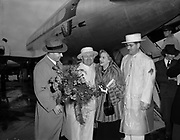 "Ackroyd 02250-1. ""Margaret Whiting & Rosarians at airport. June 7, 1950"" (famous country & popular music singer appearing at Rose Festival)"