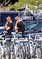 L disperazione della squadra Leopard <br /> Member of team Leopard Team pause before the start in memory of the death of their colleague Wouter Weylandt<br /> Giro d'Italia 2011 - Tappa 4: Genova Livorno<br /> Genova, 10/05/2011<br /> © Giorgio Perottino / Insidefoto <br /> Ciclismo Cycling