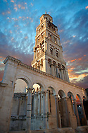 Bell tower  of the Cathedral of St Doimus dedicated to the Virgin mary, originally built onto the octagonal 4th cent AD mausoleum of  Roman Emperor Diocletian. Diocletian's, palace, Split, Croatia. A UNESCO World Heritage Site .<br /> <br /> Visit our MEDIEVAL PHOTO COLLECTIONS for more   photos  to download or buy as prints https://funkystock.photoshelter.com/gallery-collection/Medieval-Middle-Ages-Historic-Places-Arcaeological-Sites-Pictures-Images-of/C0000B5ZA54_WD0s