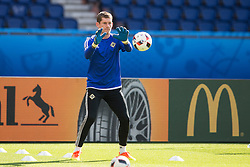 PARIS, FRANCE - Friday, June 24, 2016: Northern Ireland goalkeeper Michael McGovern during a training session at the Parc des Princes ahead of the Round of 16 UEFA Euro 2016 Championship match against Wales. (Pic by Paul Greenwood/Propaganda)