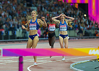 Athletics - 2017 IAAF London World Athletics Championships - Day Eight, Evening Session<br /> <br /> Womens 3000m Steeplechase Final<br /> <br /> Emma Coburn and Courtney Frerichs (United States ) finish in 1st and 2nd place  at the London Stadium<br /> <br /> COLORSPORT/DANIEL BEARHAM