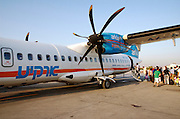 Israel, Ben Gurion International airport, passengers boarding an Arkia Airlines ATR 72 Propellor aeroplane