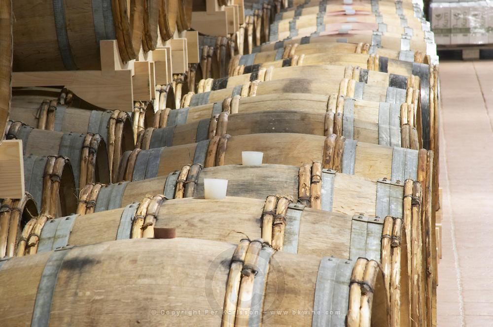 Oak barrels for wine aging. Hercegovina Produkt winery, Citluk, near Mostar. Federation Bosne i Hercegovine. Bosnia Herzegovina, Europe.