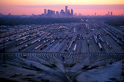 Aerial of Railyard with Downtown Houston Skyline at Sunrise/Sunset