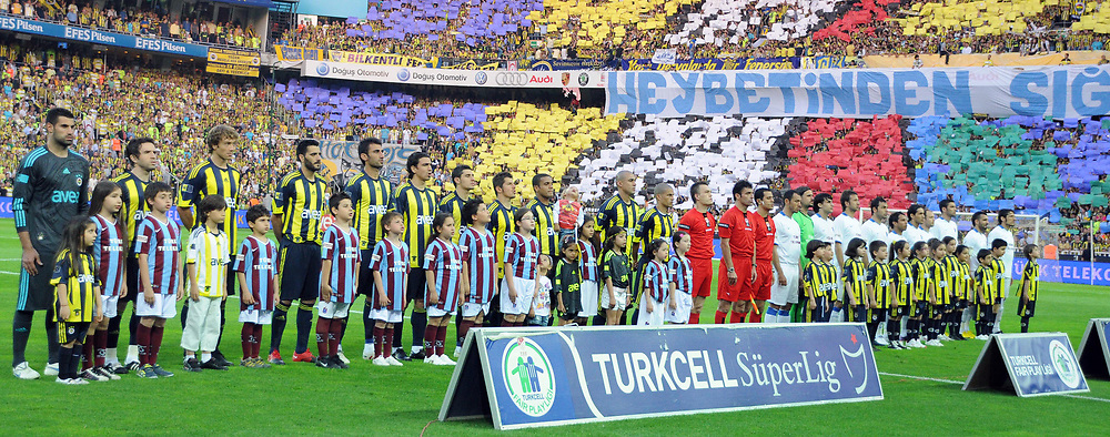 Fenerbahce's and Trabzonspor's players during their Turkish superleague soccer derby match Fenerbahce between Trabzonspor at the Sukru Saracaoglu stadium in Istanbul Turkey on Sunday 16 May 2010. Photo by TURKPIX