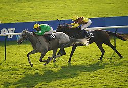 Oisin Murphy riding Buzz (left) on their way to winning the Together For Racing International Cesarewitch Handicap at Newmarket Racecourse. Picture date: Friday October 8, 2021.