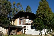 The whitewashed official residence at  Wangdue Phrodrang Dzong.  Wangdue Phrodrang Dzong. Buhtan, Druk Yul. 14 November 2006