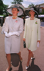 MISS TIGGY LEGGE-BOURKE and her sister<br /> MRS ZARA PLUNKET-ERNLE-ERLE-DRAX,<br /> at Royal Ascot on 15th June 1999.  MTG 31