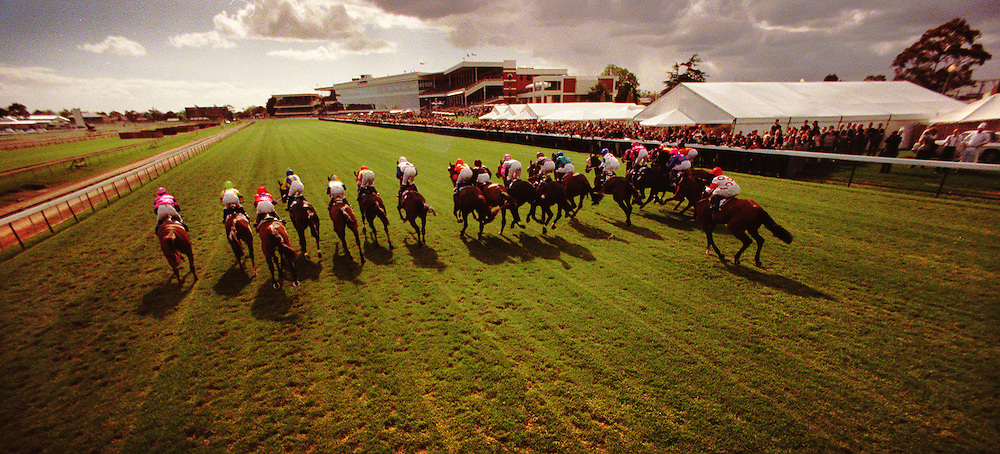 Caulfield Cup , 1996, rear view. melbourne photographers, commercial photographers, industrial photographers, corporate photographer, architectural photographers, This photograph can be used for non commercial uses with attribution. Credit: Craig Sillitoe Photography / http://www.csillitoe.com<br /> <br /> It is protected under the Creative Commons Attribution-NonCommercial-ShareAlike 4.0 International License. To view a copy of this license, visit http://creativecommons.org/licenses/by-nc-sa/4.0/.