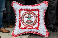 Southampton Football Club FLA wreath during the Football Lads Alliance march between Park Lane and Westminster Bridge, London on 7 October 2017. Photo by Phil Duncan.