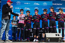 May 18, 2018 - South Lake Tahoe, California, U.S - Friday, May 18, 2018.The CANYON//SRAM (GER) team is introduced prior to Stage 2 of the Amgen Tour of California Women's Race empowered with SRAM, which starts and finishes in South Lake Tahoe, California, near Heavenly Ski Resort. (Credit Image: © Tracy Barbutes via ZUMA Wire)