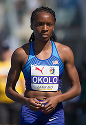 August 10, 2018 - Toronto, ON, U.S. - TORONTO, ON - AUGUST 10:  Courtney Okolo (USA), 400m semi-finals at the 2018 North America, Central America, and Caribbean Athletics Association (NACAC) Track and Field Championships on August 10, 2018 held at Varsity Stadium, Toronto, Canada. (Photo by Sean Burges / Icon Sportswire) (Credit Image: © Sean Burges/Icon SMI via ZUMA Press)