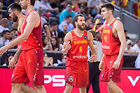 Spain's Sergio Rodriguez and Juancho Hernangomez during friendly match for the preparation for Eurobasket 2017 between Spain and Venezuela at Madrid Arena in Madrid, Spain August 15, 2017. (ALTERPHOTOS/Borja B.Hojas)