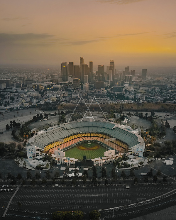 Los Angeles, USA - 30 July 2018: Aerial view of Dodgers Stadium during sunset in Los Angeles, California, USA.