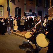 """Randy Armstrong and Drumamma lead a candle light processing to the African Burying Ground site after Carlyle Brown's performance of his one-man show """"The Fula from America: An African Journey"""" at The Music Hall in Portsmouth, NH, in support of the African Burying Groung Memorial."""