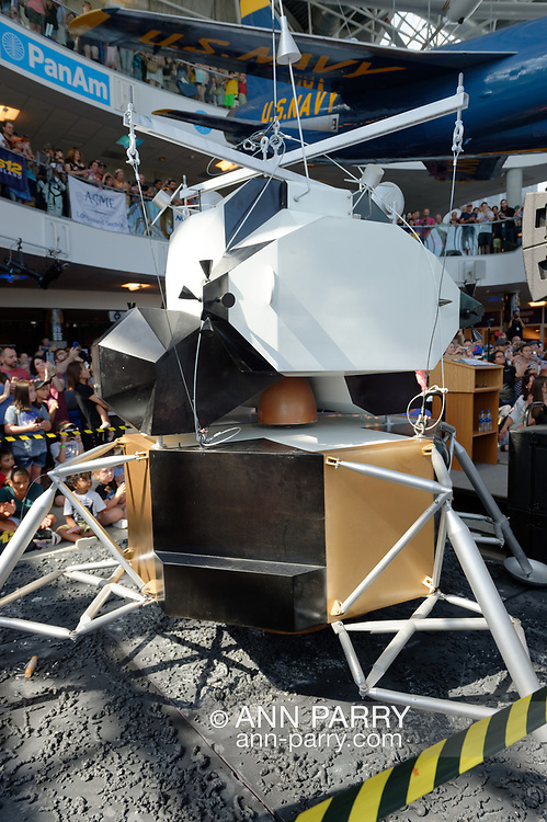 Garden City, New York, U.S. July 20, 2019. The 1/3 scale model of Apollo 11 Lunar Module The Eagle has landed after being suspended from three floow high ceiling at the exact time the Apollo 11 Lunar Module, The Eagle, landed on the Moon 50 years ago, at the Apollo at 50 Countdown Celebration at Cradle of Aviation Museum in Long Island.
