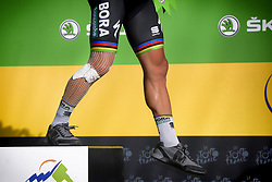 July 25, 2018 - Saint-Lary-Soulan, FRANCE - Illustration picture shows the bandaged leg of Slovak Peter Sagan of Bora-Hansgrohe after a fall during the 17th stage of the 105th edition of the Tour de France cycling race, from Bagneres-de-Luchon to Saint-Lary-Soulan (65 km), France, Wednesday 25 July 2018. This year's Tour de France takes place from July 7th to July 29th. BELGA PHOTO YORICK JANSENS (Credit Image: © Yorick Jansens/Belga via ZUMA Press)