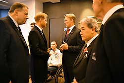 The Duke of Sussex is introduced to descendants of two England captains who died in the First World War, Jack Davis who is the great, great grandson of Lancelot Slocock, and Max Garnett who is the great, great nephew of Ronnie Poulton, and also two rugby players who are supported by the RFU Injured Players Foundation before the England v New Zealand rugby match at Twickenham Stadium, in London.