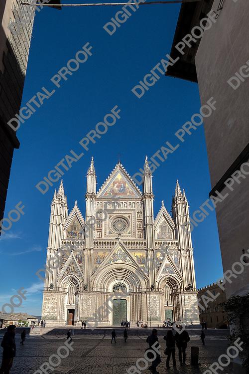 Duomo di Orvieto frontal view. Umbria, Italy 2017.