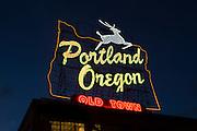 "The ""Portland Oregon"" sign in downtown Portland. Winter 2013."