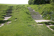 Footpath erosion as path climbs on to the chalk downs near Beachy Head, East Sussex, England