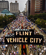A record field of over 6,850 at the starting line for the 28th annual Crim 10-mile road race today in downtown Flint, Mich. The total for all nine events that make up the Crim Festival of Races was 13,347 at the close of Friday night registration.
