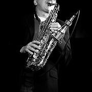 Warren Wiegratz on saxophone with Milwaukee Sleighriders live at Shank Hall. Photo ©  Jennifer Rondinelli Reilly. All rights reserved. May not be reused without permission.