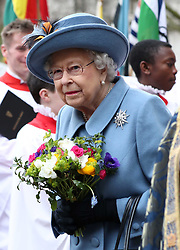 Embargoed to 2100 Friday May 08 File photo dated 09/03/20 of Queen Elizabeth II leaving after attending the Commonwealth Service at Westminster Abbey, London. The Queen reflected on her father's VE Day message in her own address which was broadcast at exactly the same moment three-quarters of a century apart.