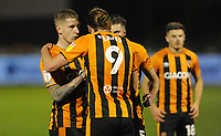 Hull City's Jordy de Wijs gives instructions to Hull City's Tom Eaves<br /> <br /> Photographer Ian Cook/CameraSport<br /> <br /> The EFL Sky Bet League One - Bristol Rovers v Hull City - Tuesday 27th October 2020 - Memorial Stadium - Bristol<br /> <br /> World Copyright © 2020 CameraSport. All rights reserved. 43 Linden Ave. Countesthorpe. Leicester. England. LE8 5PG - Tel: +44 (0) 116 277 4147 - admin@camerasport.com - www.camerasport.com