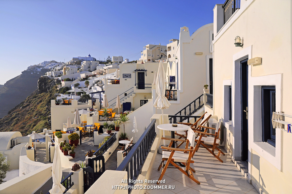 Hotel balcony in Firostefani with scenic caldera view in Santorini