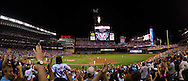[Note:  This panorama was stitched from multiple photos during post-processing] Minnesota Twins DH Jim Thome gets one step closer to career homerun #600 by hitting a 3-run go-ahead homerun for #594 in the 1st inning against the Milwaukee Brewers on July 1, 2011 at Target Field in Minneapolis, Minnesota.  The Twins defeated the Brewers 6 to 2.