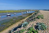 Hurst Spit looking towards the lighthouse and castle, Hampshire, Uk
