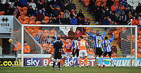 GOAL - Wigan Athletic's Harry Maguire (out of picture) scores his sides second goal <br /> <br /> Photographer Kevin Barnes/CameraSport<br /> <br /> Football - The Football League Sky Bet Championship - Blackpool v Wigan Athletic - Saturday 28th February 2015 - Bloomfield Road - Blackpool<br /> <br /> © CameraSport - 43 Linden Ave. Countesthorpe. Leicester. England. LE8 5PG - Tel: +44 (0) 116 277 4147 - admin@camerasport.com - www.camerasport.com