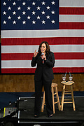 Senator Kamala Harris address a town hall meeting during her campaign for the Democratic presidential nomination February 15, 2019 in North Charleston, South Carolina. South Carolina is the first southern democratic primary for the presidential race.